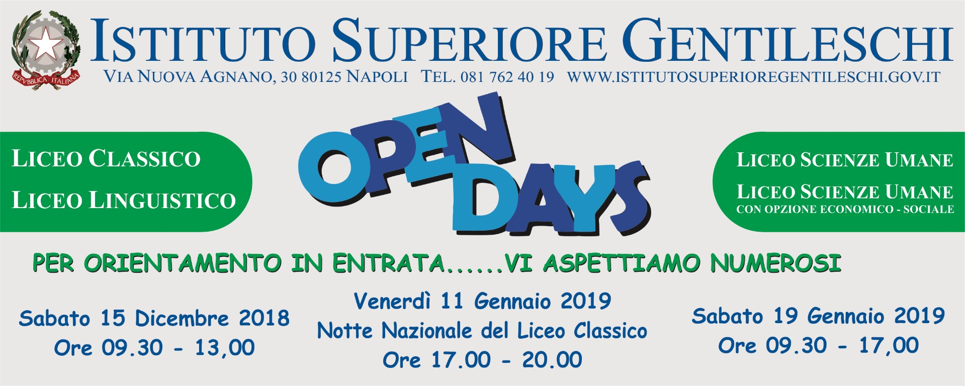 Open day Gentileschi 2019